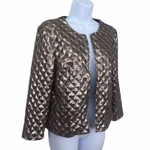 Forever 21 Gold Sequined 3D Open Front Jacket S